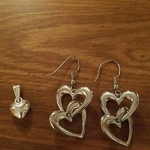 Sterling silver earrings and pendant